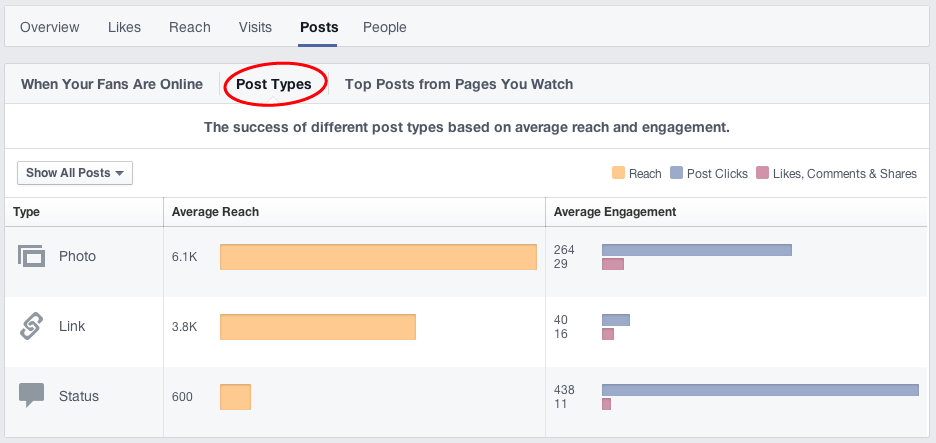 Facebook Insights - Post Types