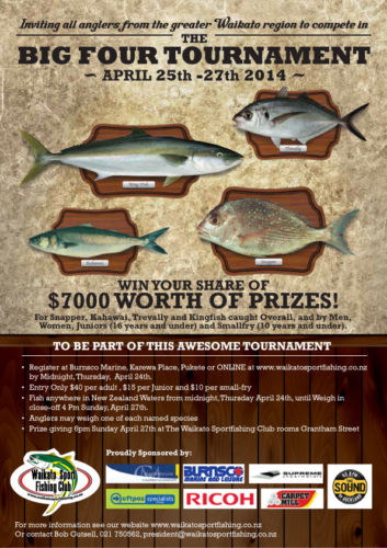 Waikato Sports Fishing Club - Big Four Poster