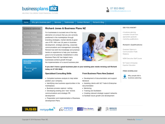 Business Plans NZ Website design