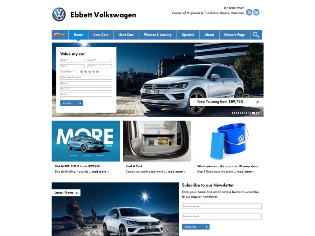 Ebbett Volkswagen Website Development